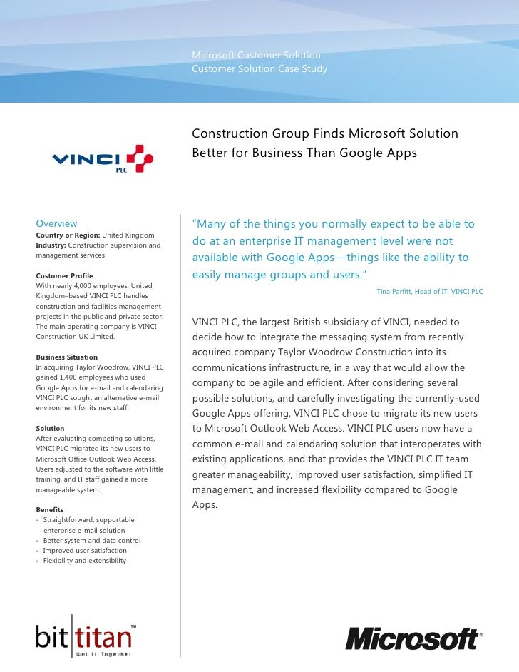 Vinci Construction Group Finds Microsoft Solution Better for Business Than Google Apps