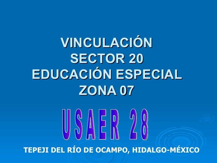 VINCULACIÓN SECTOR 20 EDUCACIÓN ESPECIAL ZONA 07 TEPEJI DEL RÍO DE OCAMPO, HIDALGO-MÉXICO U S A E R  2 8