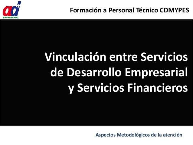 Vinculación entre Servicios de Desarrollo Empresarial y Servicios Financieros Formación a Personal Técnico CDMYPES Aspecto...