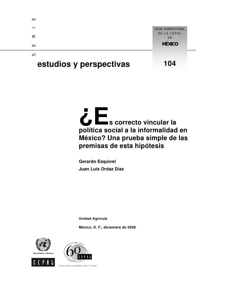 Vincular Pp Ss A La Informalidad En Mexico