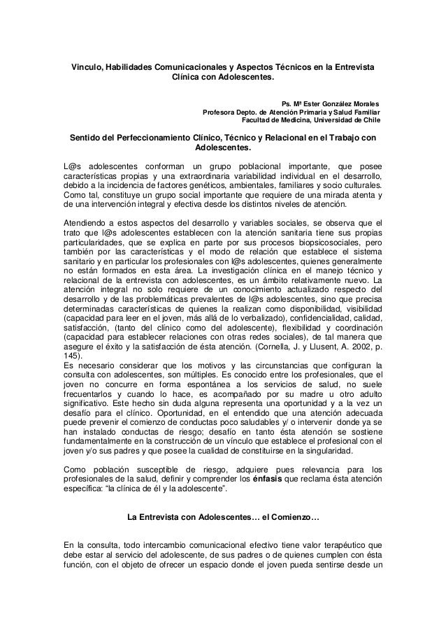 Vinculo, Habilidades Comunicacionales y Aspectos Técnicos en la Entrevista Clínica con Adolescentes. Ps. Mª Ester González...