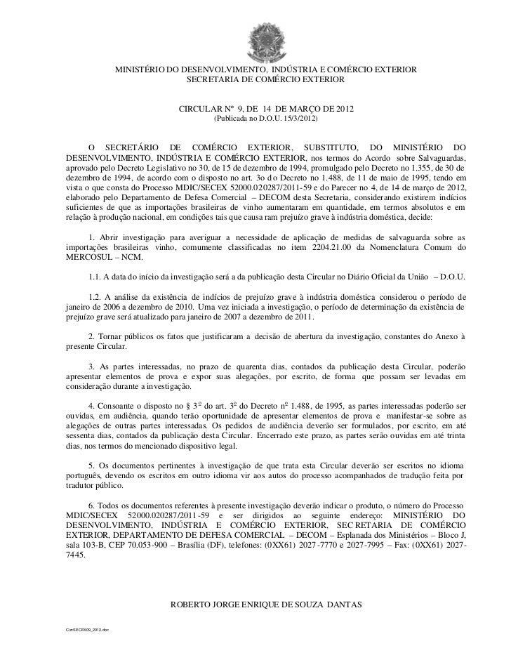 MINISTÉRIO DO DESENVOLVIMENTO, INDÚSTRIA E COMÉRCIO EXTERIOR                                      SECRETARIA DE COMÉRCIO E...