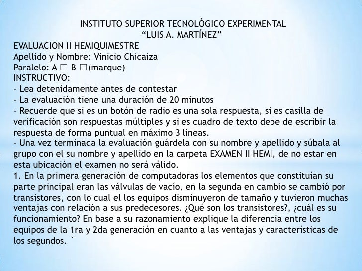 "INSTITUTO SUPERIOR TECNOLÓGICO EXPERIMENTAL                                  ""LUIS A. MARTÍNEZ""EVALUACION II HEMIQUIMESTRE..."