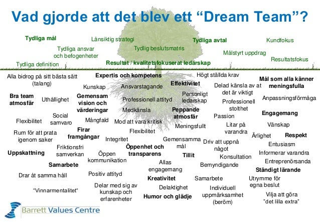 """Vad gjorde att det blev ett """"Dream Team""""? Tydliga definition Tydliga mål Flexibilitet Uppskattning Professionell attityd G..."""