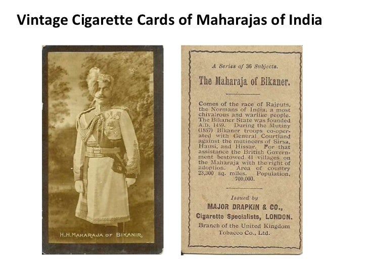 Vintage cigarette cards of maharajas of india