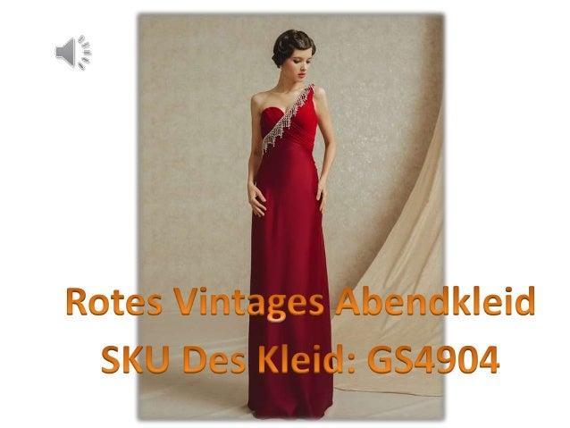 Vintage langes rotes ein schulter empire abendkleider