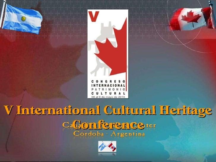 V International Cultural Heritage Conference