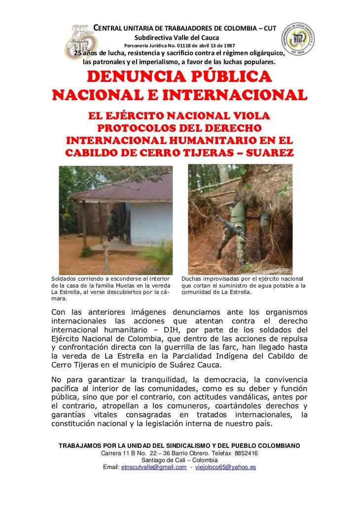 CENTRAL UNITARIA DE TRABAJADORES DE COLOMBIA – CUT                               Subdirectiva Valle del Cauca             ...