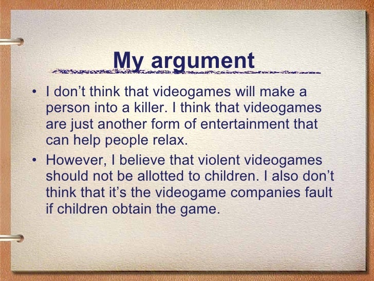 Argumentative paper on video game