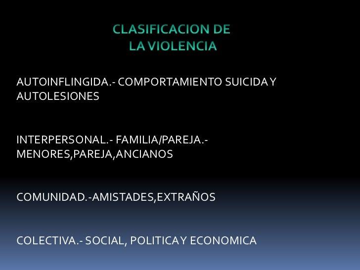 CLASIFICACION DE<br /> LA VIOLENCIA<br />AUTOINFLINGIDA.- COMPORTAMIENTO SUICIDA Y AUTOLESIONES<br />INTERPERSONAL.- FAMIL...