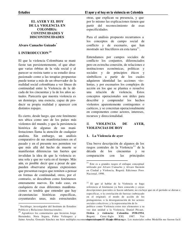 Estudios                                                El ayer y el hoy en la violencia en Colombia                      ...