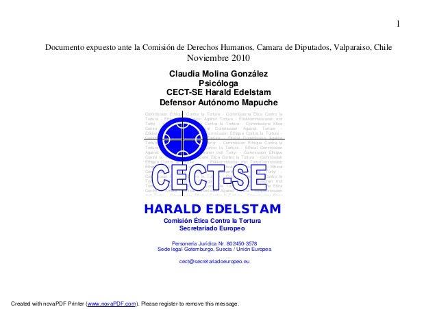 1             Documento expuesto ante la Comisión de Derechos Humanos, Camara de Diputados, Valparaiso, Chile             ...