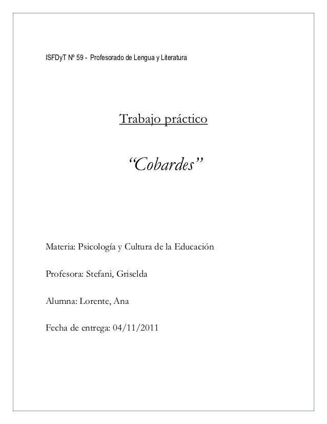 """ISFDyT Nº 59 - Profesorado de Lengua y Literatura                         Trabajo práctico                           """"Coba..."""
