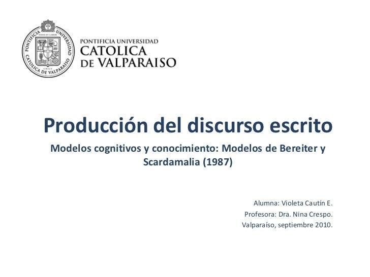 Producción del discurso escrito<br />Modelos cognitivos y conocimiento: Modelos de Bereitery Scardamalia(1987)<br />Alumna...