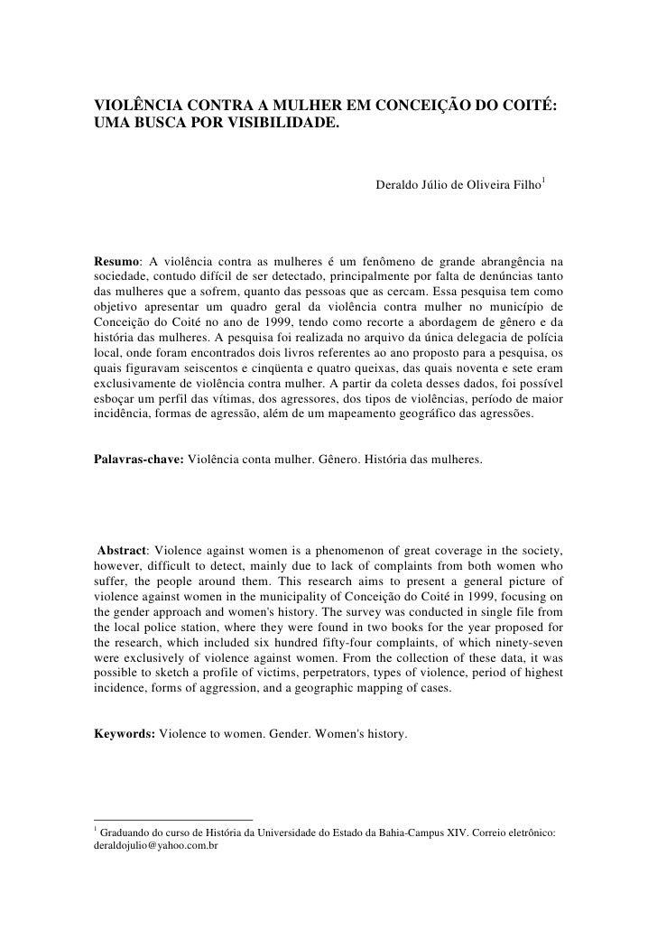 VIOLÊNCIA CONTRA A MULHER EM CONCEIÇÃO DO COITÉ:UMA BUSCA POR VISIBILIDADE.                                               ...