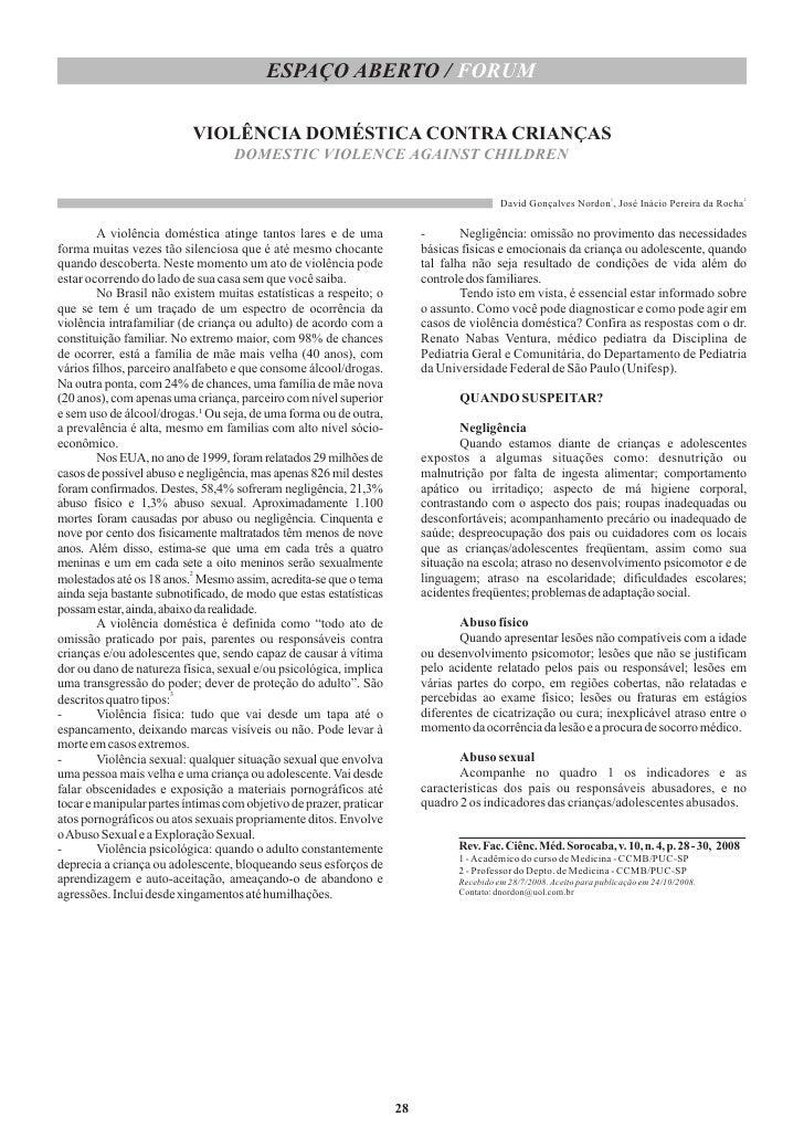 ESPAÇO ABERTO / FORUM                            VIOLÊNCIA DOMÉSTICA CONTRA CRIANÇAS                                    DO...