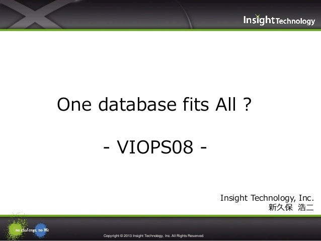 Copyright © 2013 Insight Technology, Inc. All Rights Reserved. Insight Technology, Inc. 新久保 浩二 One database fits All ? - V...