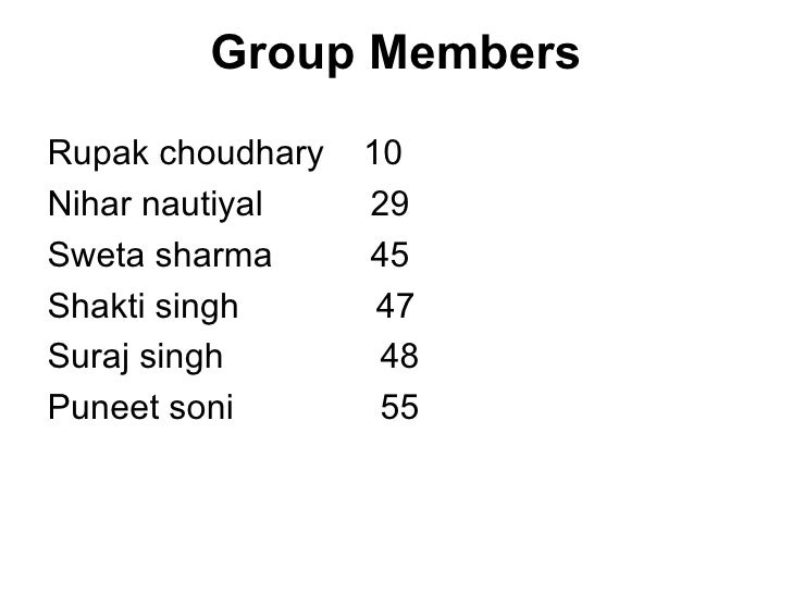 Group Members <ul><li>Rupak choudhary  10 </li></ul><ul><li>Nihar nautiyal  29 </li></ul><ul><li>Sweta sharma  45 </li></u...