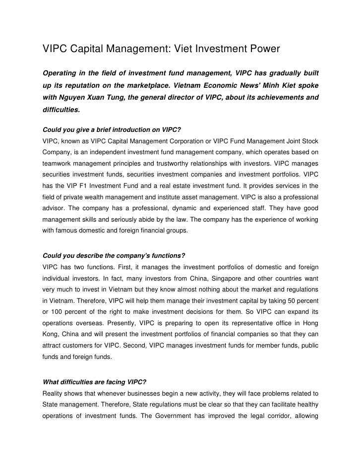 VIPC Capital Management: Viet Investment Power  Operating in the field of investment fund management, VIPC has gradually b...