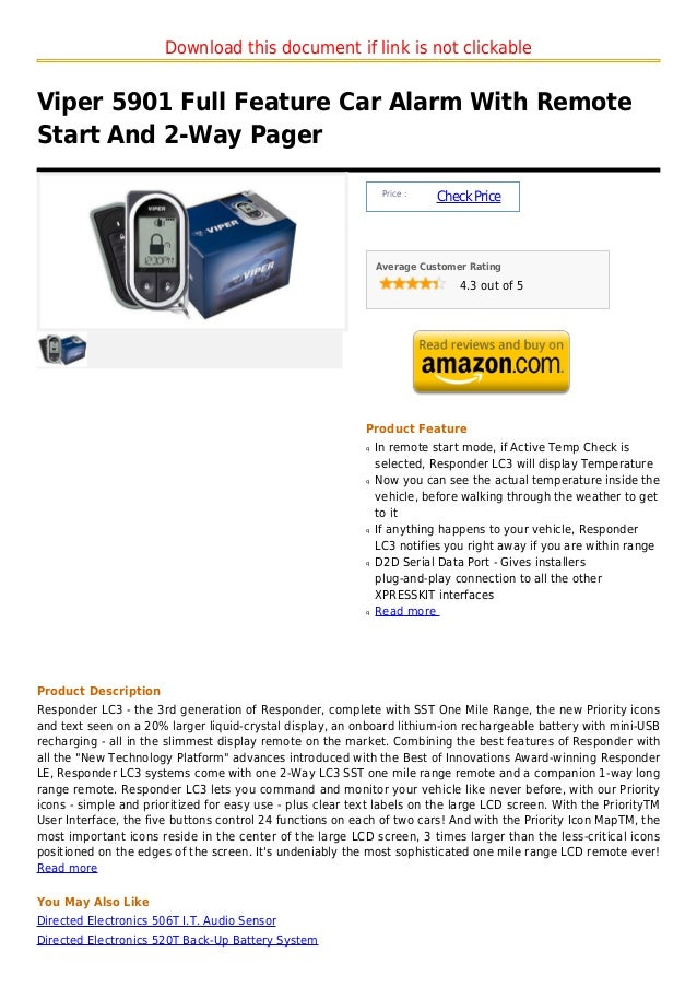 Download this document if link is not clickableViper 5901 Full Feature Car Alarm With RemoteStart And 2-Way Pager         ...