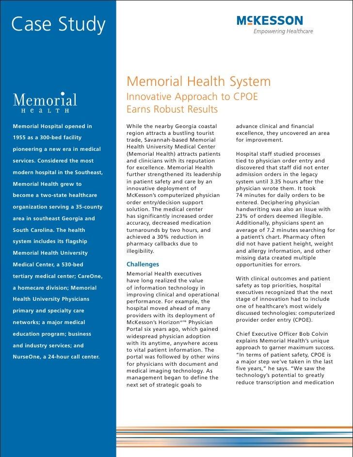 Case Study                                      Memorial Health System                                     Innovative Appr...