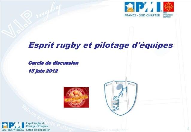 Esprit Rugby et Pilotage d'Equipes Cercle de discussionSUD | MIDI-PYRÉNÉES 1 Esprit rugby et pilotage d'équipes Cercle de ...
