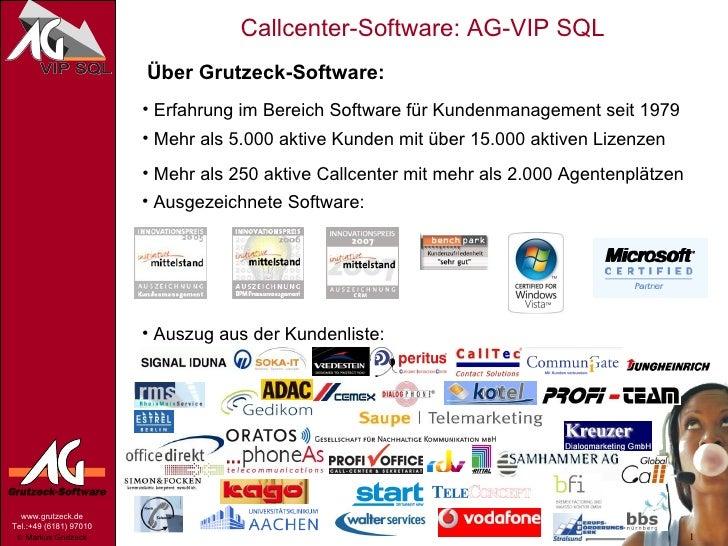 Über Grutzeck-Software: <ul><li>Erfahrung im Bereich Software für Kundenmanagement seit 1979 </li></ul><ul><li>Mehr als 5....