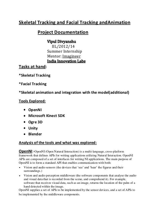 Skeletal Tracking and Facial Tracking andAnimation               Project Documentation                      Vipul Divyansh...