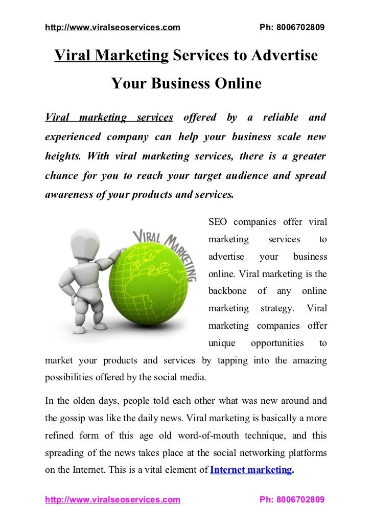 Viral Marketing Services to Advertise Your Business Online
