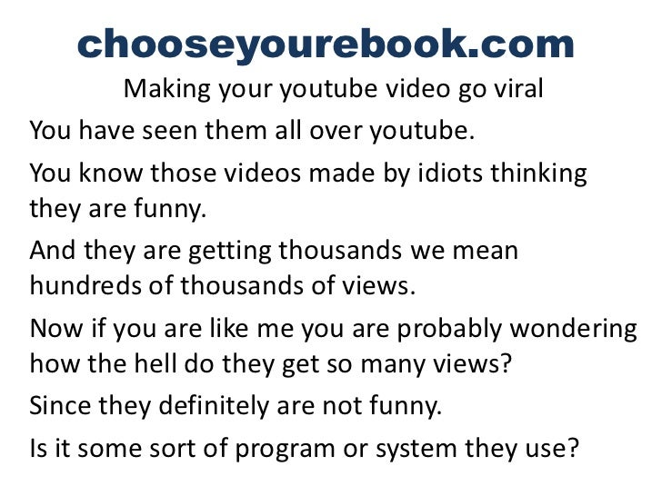 How to make your youtube videos go viral
