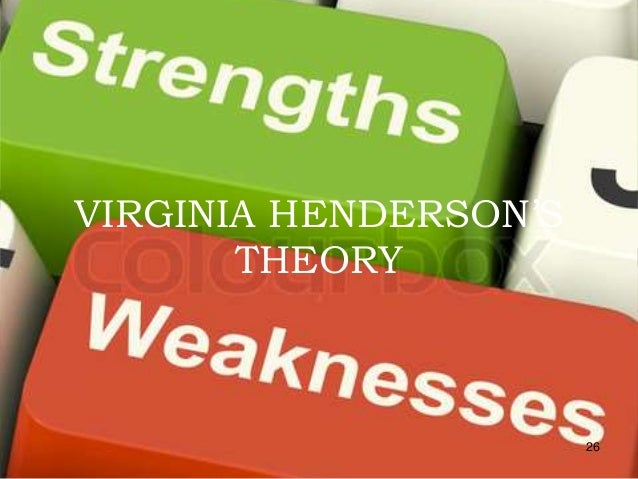 virginia hendersons need theory Powerpoint presentation: virginia avenel henderson was born on march 19,1897,in kansas city, missouri she died on november 30,1996,when she was 98 years old during her life.