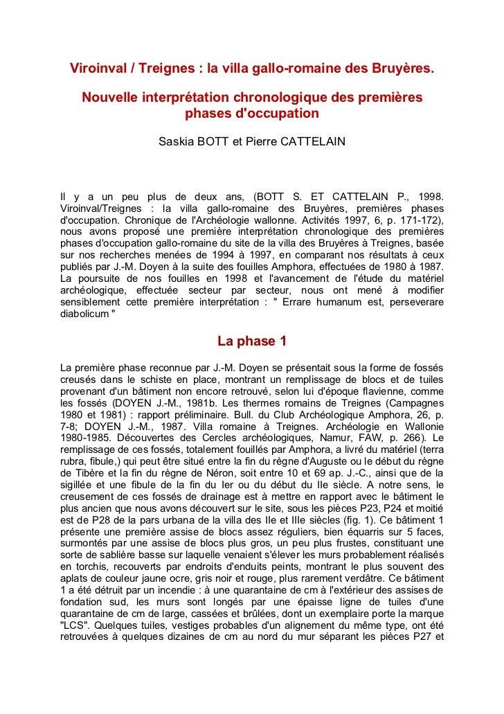 Viroinval / Treignes : la villa gallo-romaine des Bruyères.    Nouvelle interprétation chronologique des premières        ...