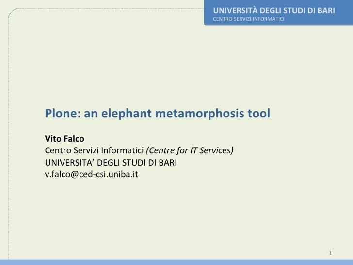 UNIVERSITÀ DEGLI STUDI DI BARI CENTRO SERVIZI INFORMATICI Plone: an elephant metamorphosis tool Vito Falco Centro Servizi ...