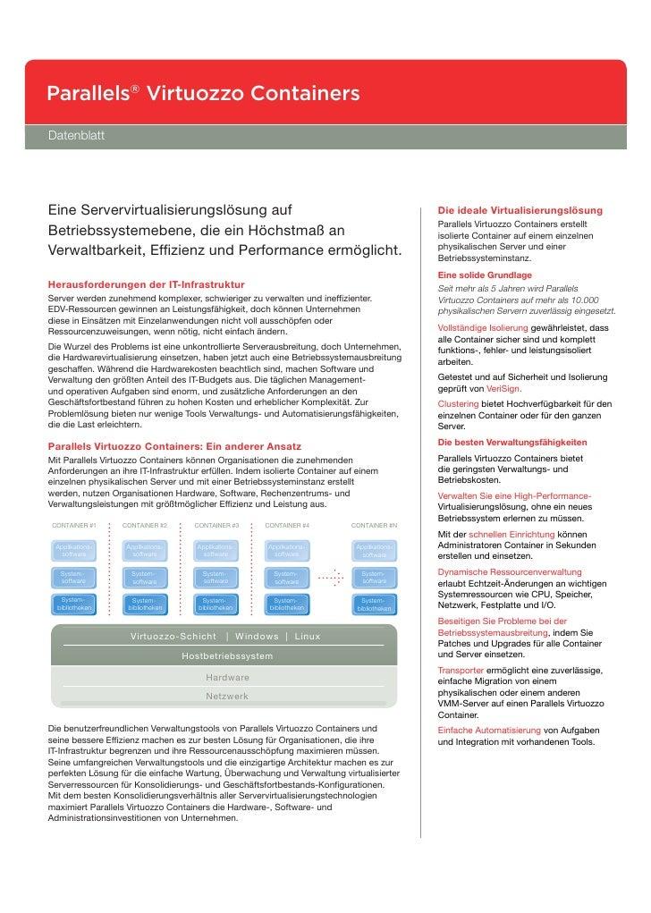 Parallels® Virtuozzo Containers Datenblatt     Eine Servervirtualisierungslösung auf                                      ...
