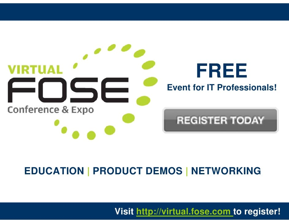 FREE                            Event for IT Professionals!     EDUCATION | PRODUCT DEMOS | NETWORKING                 Vis...