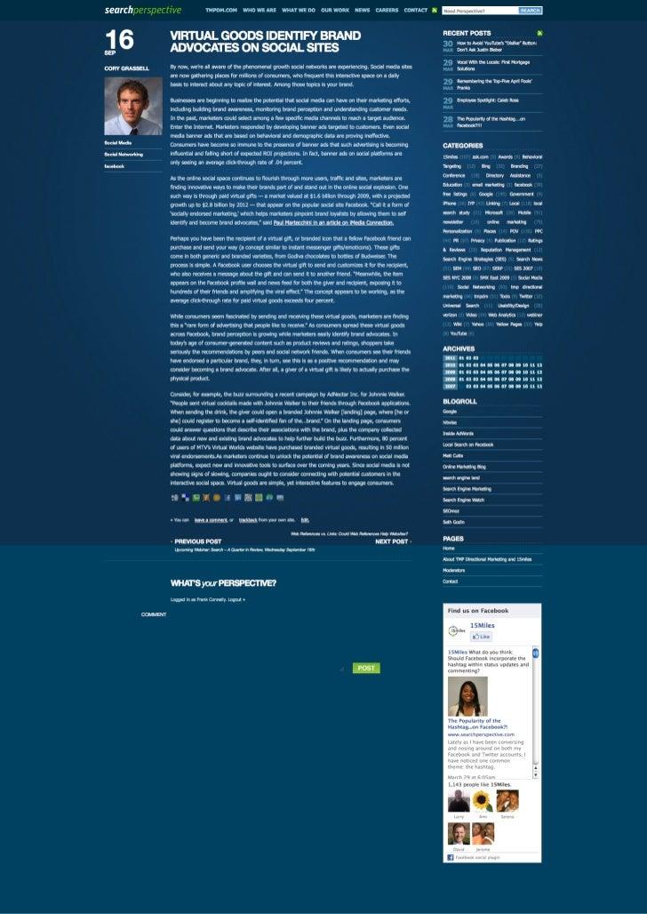 Blog Post: Virtual Goods Identify Brand Advocates on Social Sites