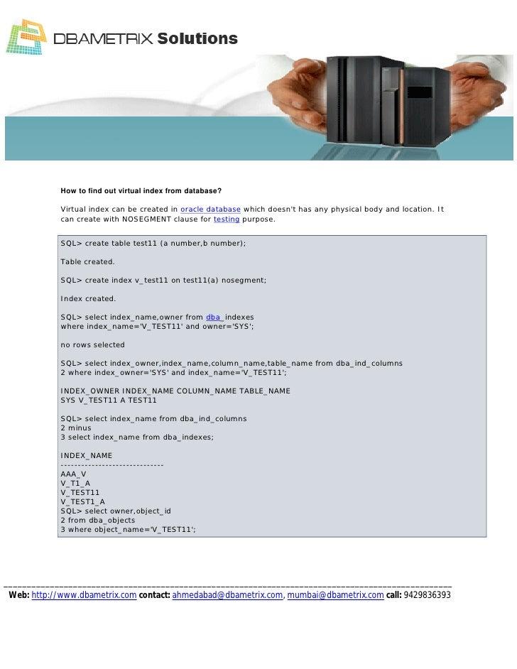 Remote DBA team-Virtual Index  Oracle Hidden Feature