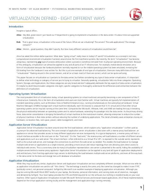 Virtualization defined-wp