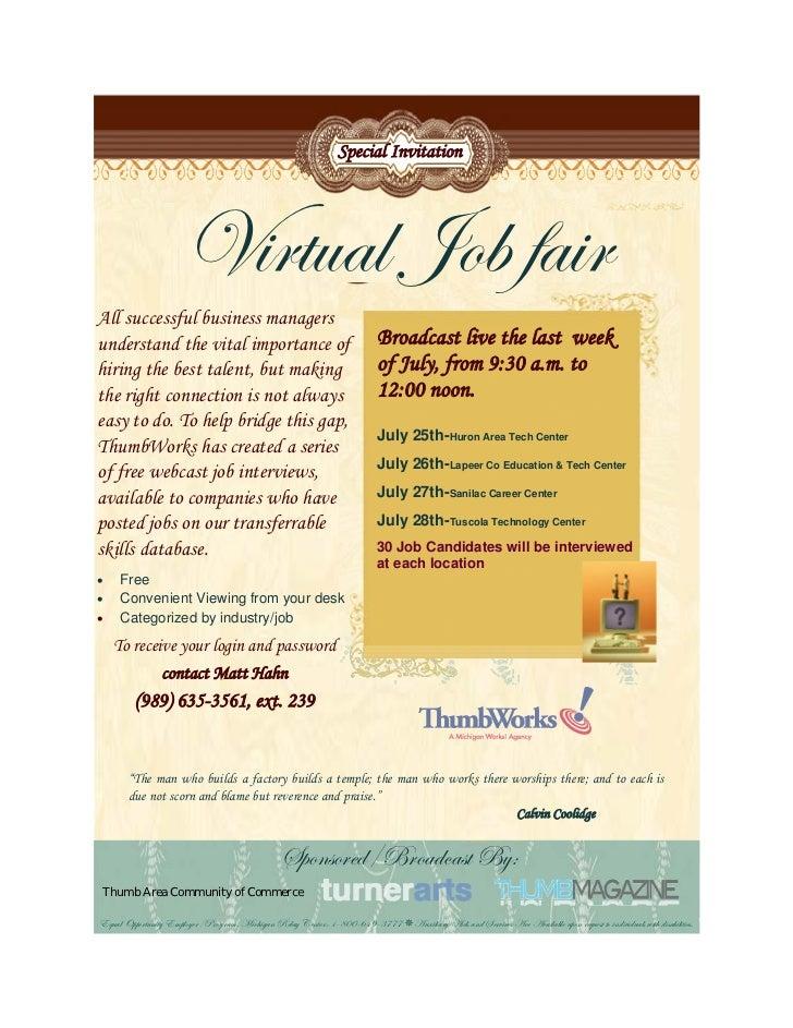 Virtual job fair for the Thumb