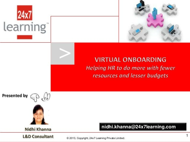 > Presented by  Nidhi Khanna  L&D Consultant  www.24x7learning.com  nidhi.khanna@24x7learning.com © 2013, Copyright, 24x7 ...