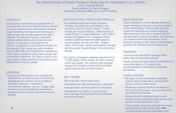 The Effectiveness of Insulin Pumps in Reducing the Hemoglobin A1c (HbAlc) Judy Li, Nursing Student Faculty Advisor: Dr. Na...