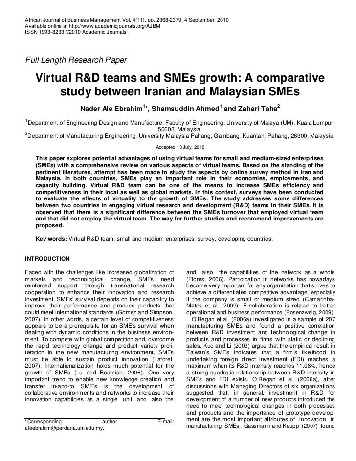 Virtual R&D teams and SMEs growth: A comparative study between Iranian and Malaysian SMEs