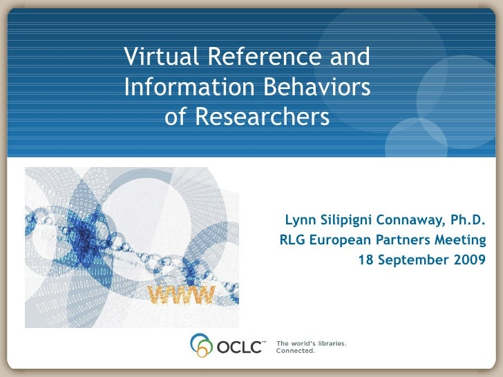 Virtual Reference And Information Behaviors Of Researchers