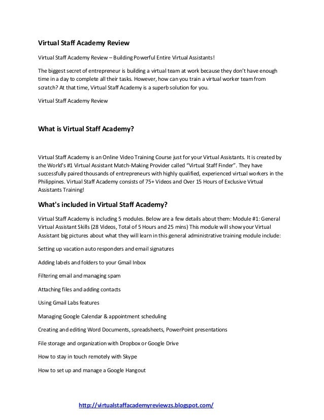 Virtual Staff Academy Review Virtual Staff Academy Review – Building Powerful Entire Virtual Assistants! The biggest secre...