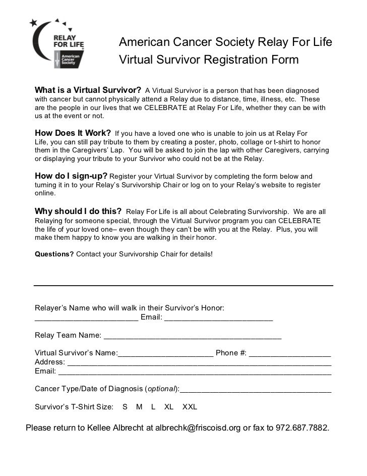 American Cancer Society Relay For Life                             Virtual Survivor Registration Form  What is a Virtual S...