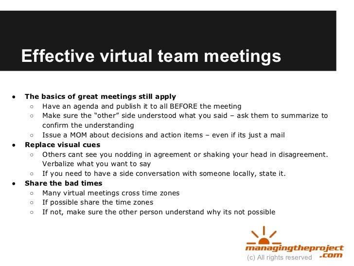 Virtual Team Meeting Virtual Team Meetings●