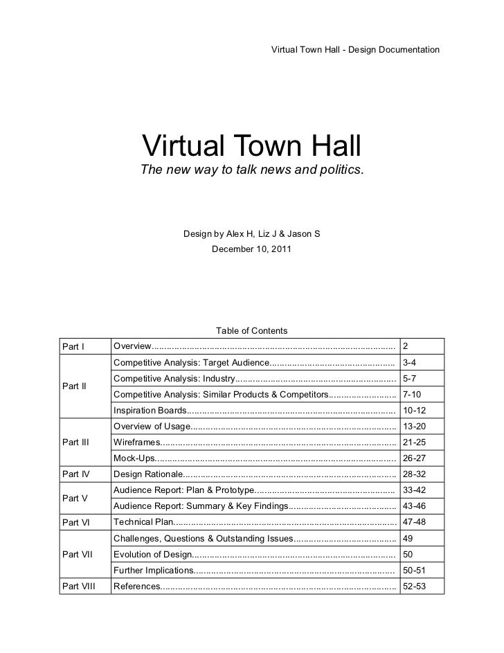 Virtual Town Hall - Design Documentation                      Virtual Town Hall                     The new way to talk ne...