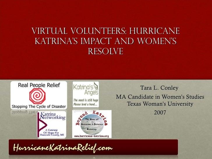Virtual Volunteers: Hurricane Katrina's Impact and Women's             Resolve                       Tara L. Conley       ...