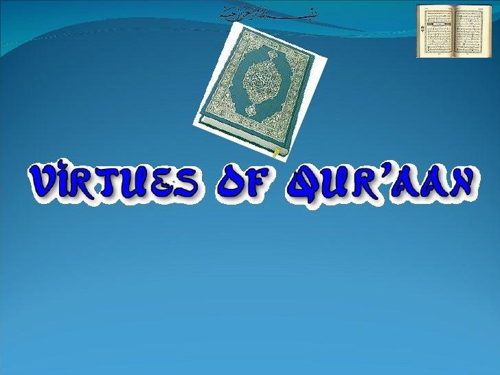 Virtues Of  Quraan