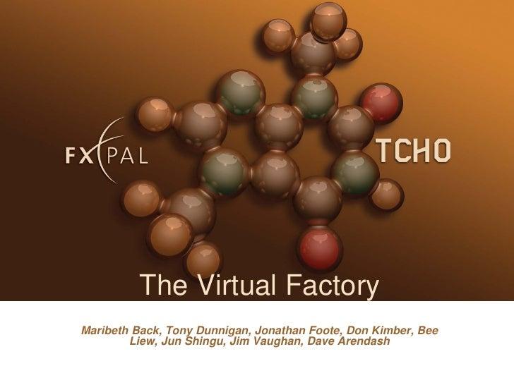 The Virtual Factory Maribeth Back, Tony Dunnigan, Jonathan Foote, Don Kimber, Bee         Liew, Jun Shingu, Jim Vaughan, D...